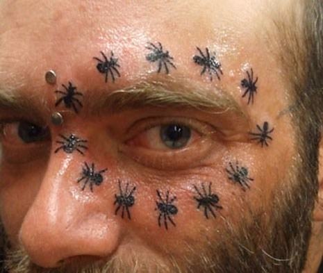 spiders,wtf,eyes,tattoos,funny,g rated,Ugliest Tattoos