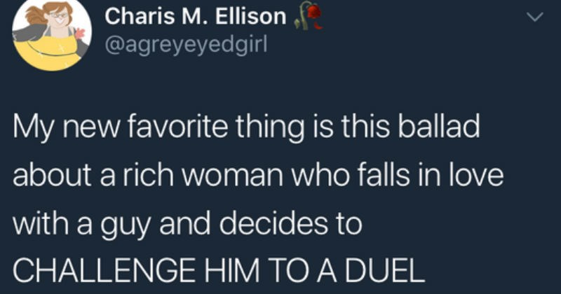 woman duels a man for his heart