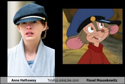 anne hathaway,hats,fievel mousekewitz,totally looks like,funny