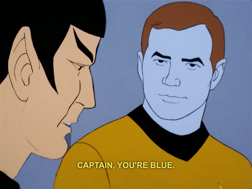 blue,Captain Kirk,Spock,Star Trek