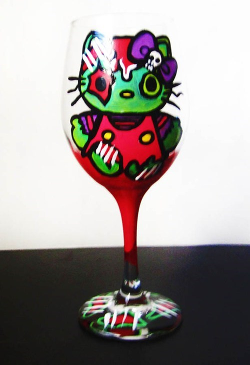 wine glass,hello kitty,zombie,funny