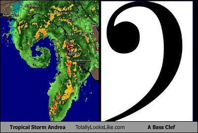 tropical storm,totally looks like,bass clef,funny,andrea
