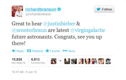 Music twitter Richard Branson astronaut funny virgin galactic justin bieber - 7544210176