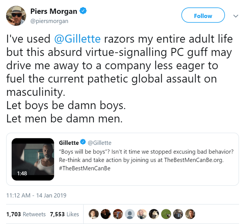 advertising man masculinity tweets gillette - 7544581