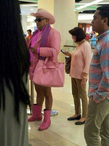 pink cross dressing waiting in line funny - 7544609792