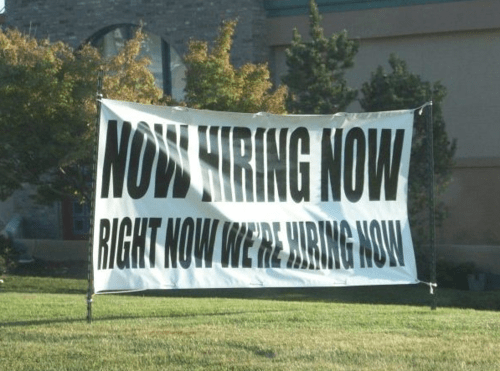 now hiring,signs
