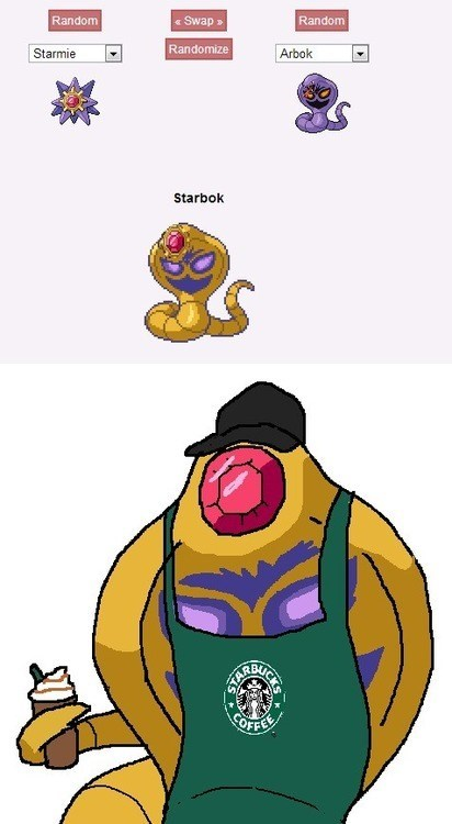 pokemon fusions Starbucks arbok Starmie - 7545313280