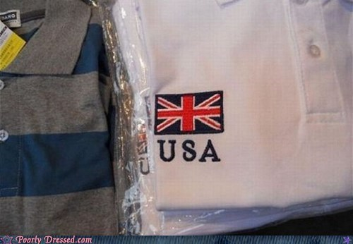 usa misprint tshirts flags UK funny