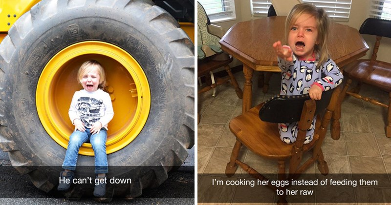 kids having meltdowns over mundane things | He can't get down crying child sitting inside a truck wheel | cooking her eggs instead feeding them her raw small child reaching for the camera