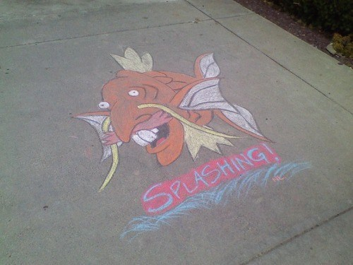 Pokémon magikarp splash puns chalk art smashing nigel thornberry funny