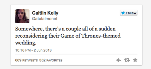 Game of Thrones,nerdgasm,tweet,weddings,funny,dating