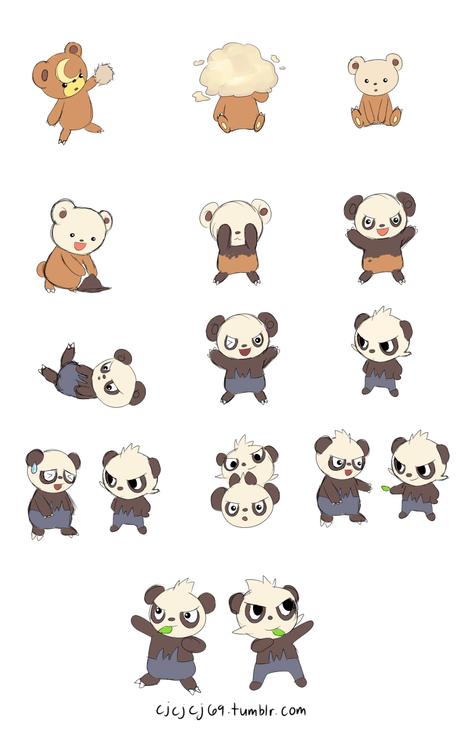 Pokémon art cute teddiursa pancham - 7548614400
