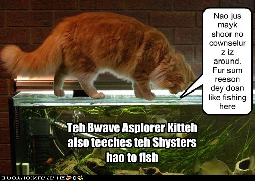 Teh Bwave Asplorer Kitteh also teeches teh Shysters hao to fish Nao jus mayk shoor no cownselurz iz around. Fur sum reeson dey doan like fishing here