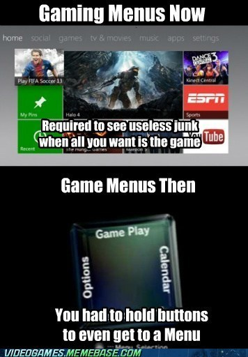 then vs now,menus,gaming