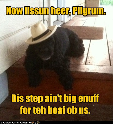 Now lissun heer, Pilgrum. Dis step ain't big enuff for teh boaf ob us.