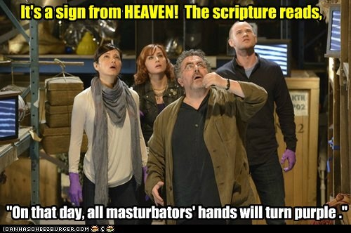 "It's a sign from HEAVEN! The scripture reads, ""On that day, all masturbators' hands will turn purple ."""