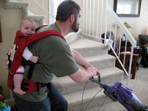 Babies,dads,doing chores,funny,vacuuming