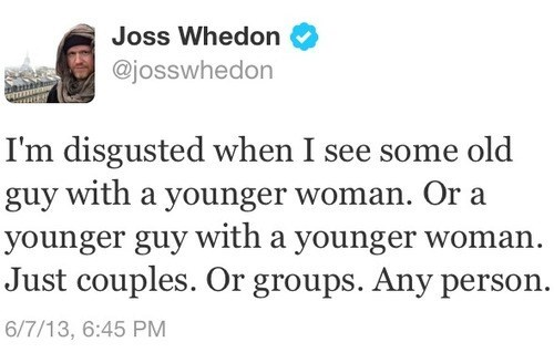 jealousy tweet Joss Whedon funny g rated dating - 7559099392