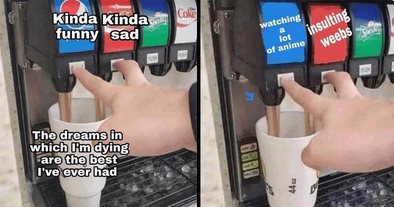Funny meme about double soda pour.