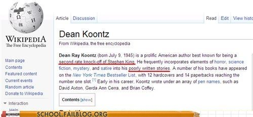 author,dean koontz,wikipedia,funny