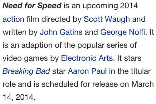 aaron paul,need for speed
