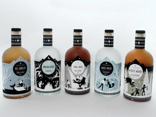 folksaga design akvavit funny bottles - 7562026752