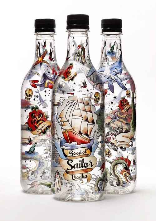 bottle design awesome tattoos vodka funny - 7562034432
