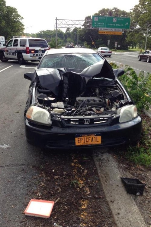 cars,crash,irony,license plate,funny,fail nation