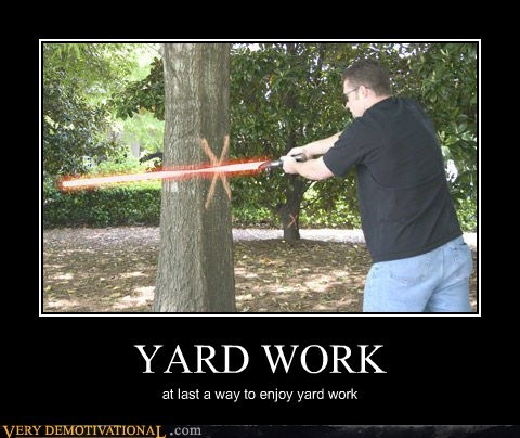 wtf lightsaber yard work funny