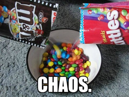 chaos,m&ms,russian roulette,skittles,m&ms