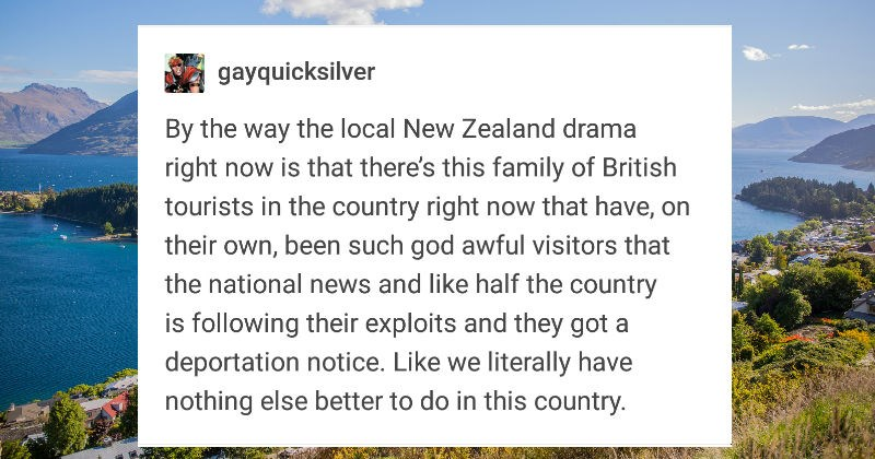 new zealand tourists British ridiculous family obnoxious - 7565317