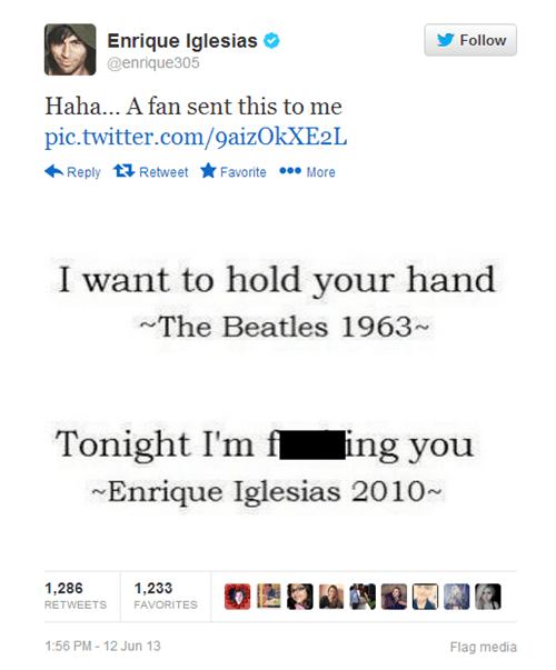 the Beatles Music twitter enrique iglesias romance song lyrics funny