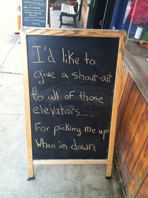 elevators puns chalkboard funny - 7568917760