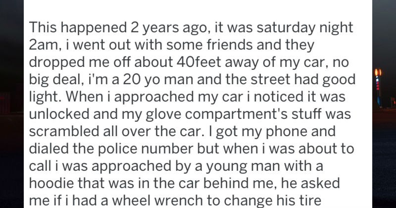 guy gets surprise after changing stranger's car tire