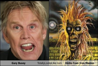 eddie gary busey totally looks like iron maiden funny