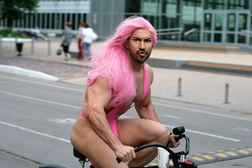 biking,blue steel,gstrings,pink,wigs,funny