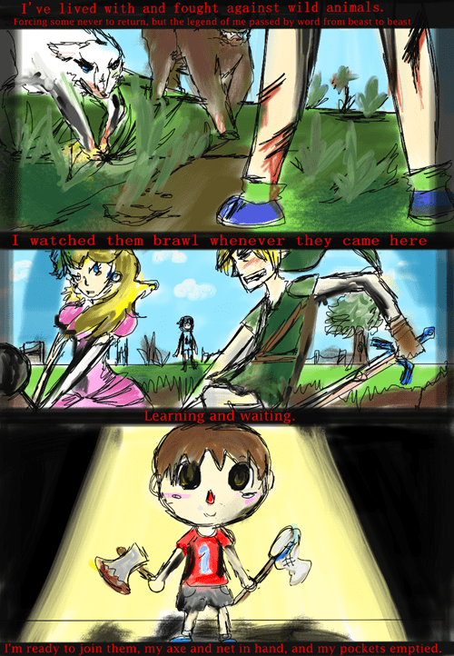 super smash bros,comics,creepy animal crossing villager