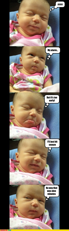 Babies kids reactions alarm clocks sleeping funny - 7572567040