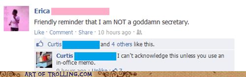 sexism secretary facebook