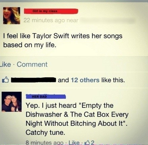 taylor swift,Music,facebook,dad,funny,burn