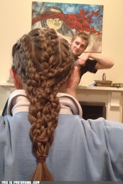 photobomb braids hairdo funny
