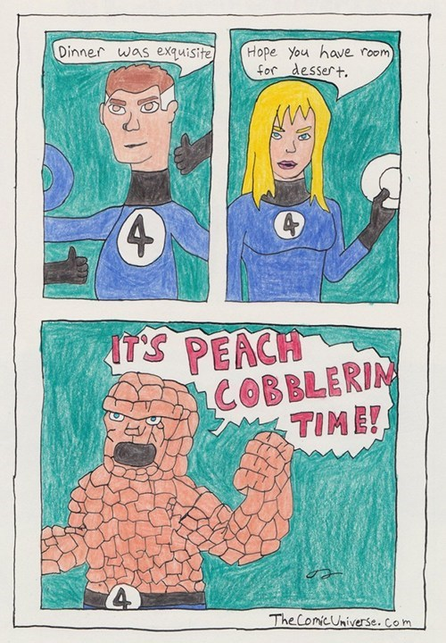 clobberin-time art Fantastic Four funny peach cobbler - 7574512128