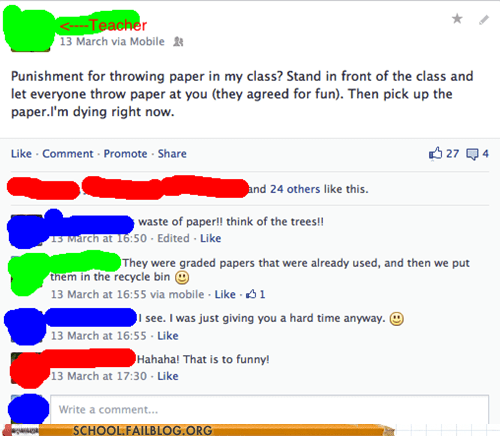 class kids throwing paper facebook g rated School of FAIL