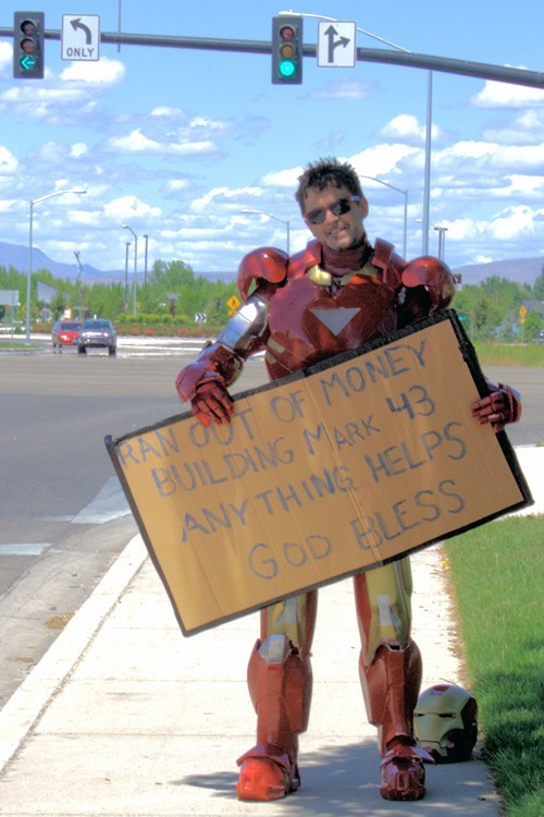 cosplay signs homeless iron man - 7576144896