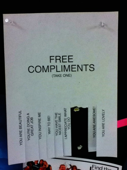 sign,compliments,free stuff,take one
