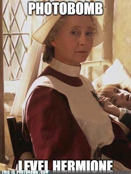 photobomb hermione granger madam pomfrey funny - 7577725440