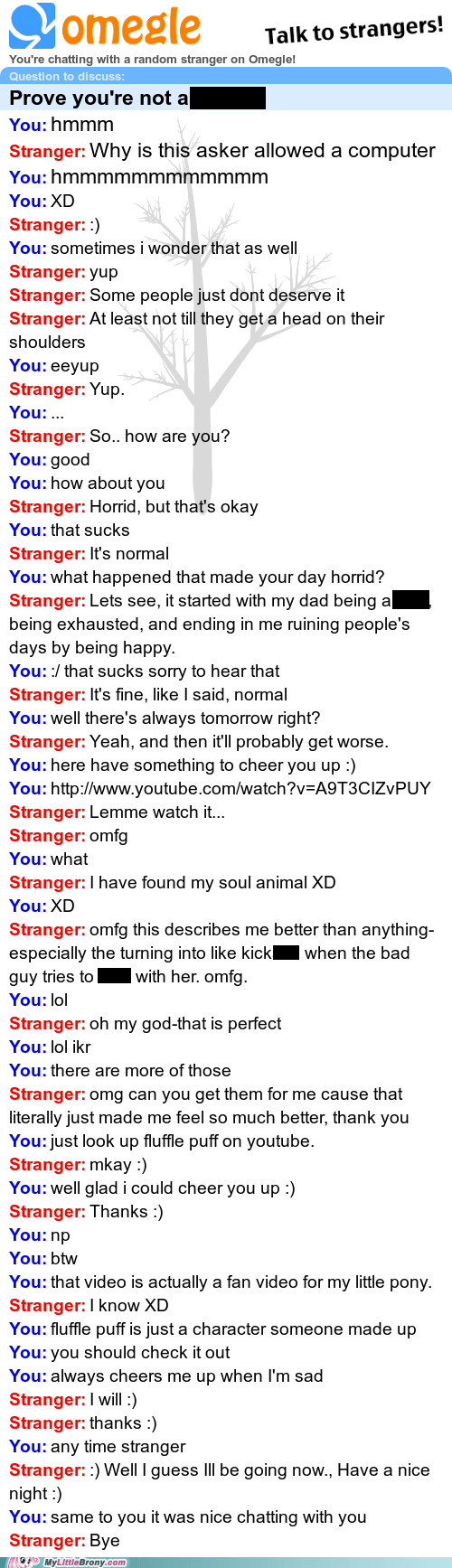 Converting someone with happiness.