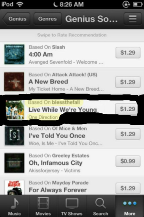one direction Music iTunes FAIL genius funny - 7578888704