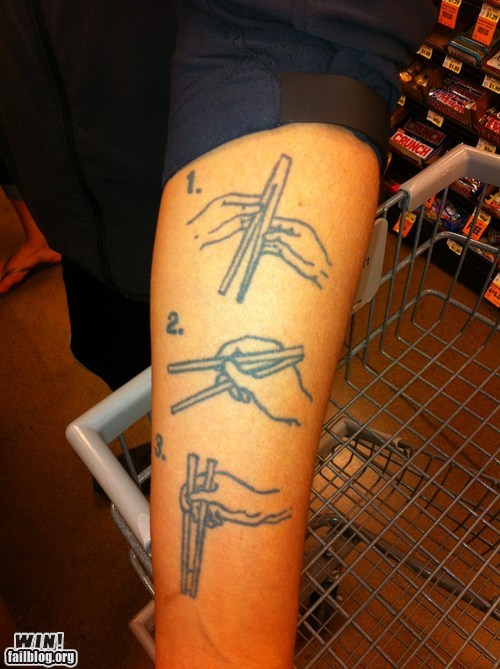 chopsticks,instructions,tattoos,funny,useful