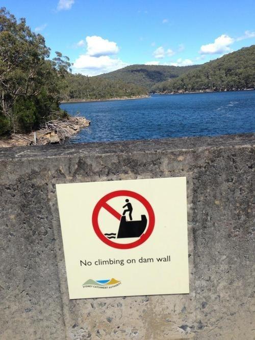 funny dam puns warning sign - 7579192320